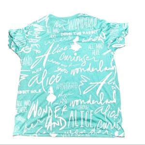 Disney Alice In Wonderland Aqua White Printed Tee